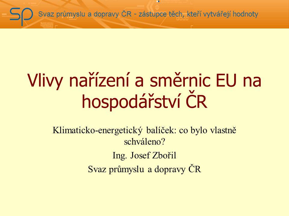 Svaz průmyslu a dopravy ČR - zástupce těch, kteří vytvářejí hodnoty Vlivy nařízení a směrnic EU na hospodářství ČR Klimaticko-energetický balíček: co bylo vlastně schváleno.