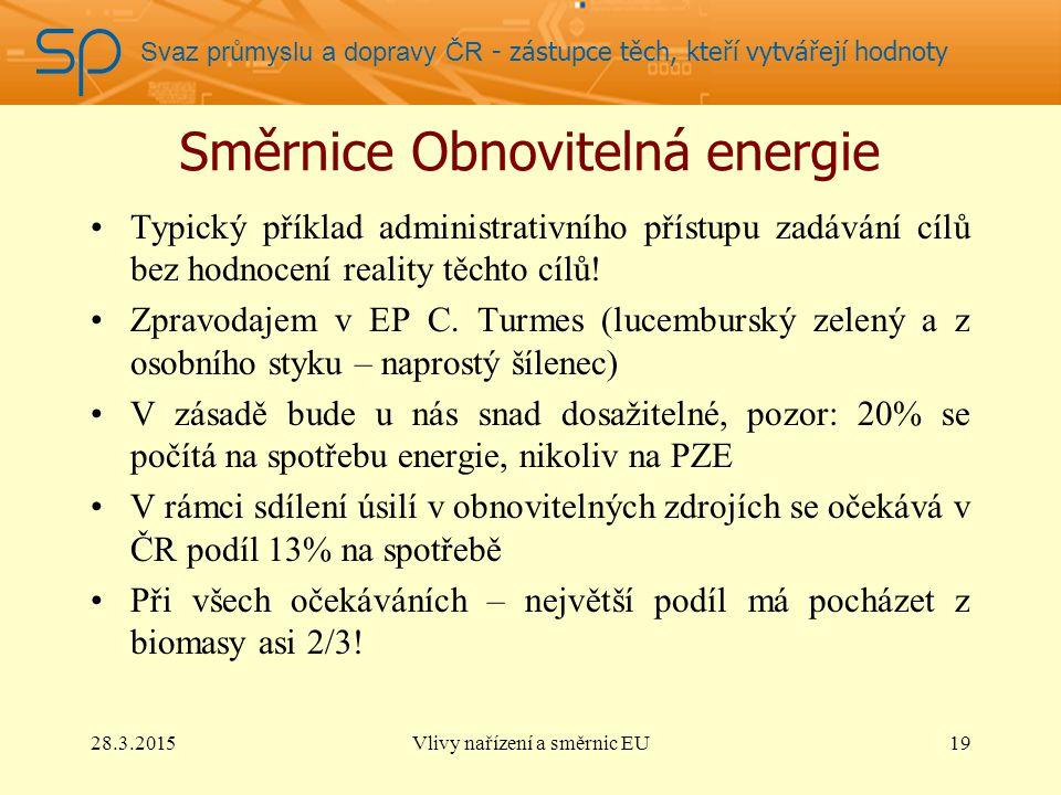 Svaz průmyslu a dopravy ČR - zástupce těch, kteří vytvářejí hodnoty Směrnice Obnovitelná energie Typický příklad administrativního přístupu zadávání cílů bez hodnocení reality těchto cílů.