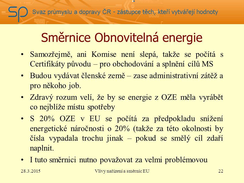 Svaz průmyslu a dopravy ČR - zástupce těch, kteří vytvářejí hodnoty Směrnice Obnovitelná energie Samozřejmě, ani Komise není slepá, takže se počítá s Certifikáty původu – pro obchodování a splnění cílů MS Budou vydávat členské země – zase administrativní zátěž a pro někoho job.