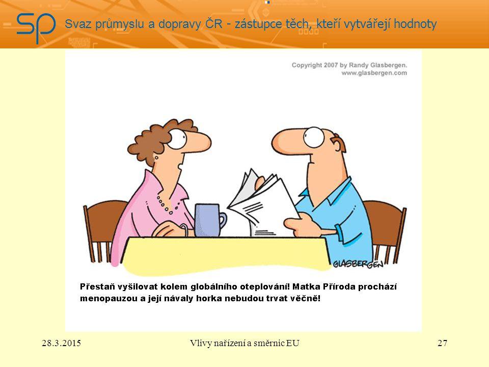Svaz průmyslu a dopravy ČR - zástupce těch, kteří vytvářejí hodnoty 28.3.2015Vlivy nařízení a směrnic EU27
