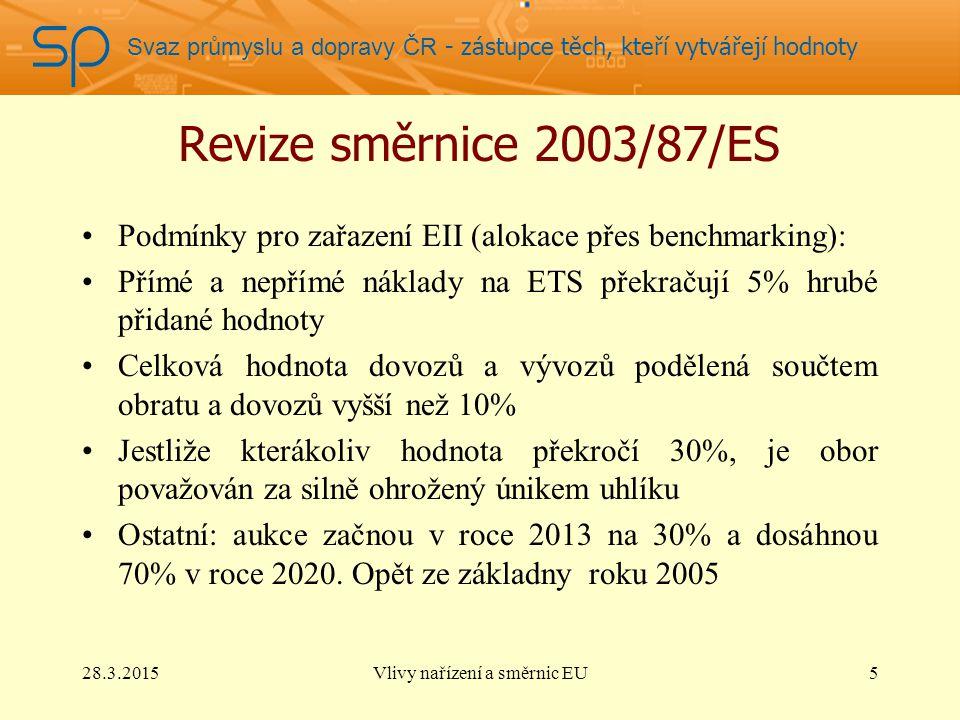 Svaz průmyslu a dopravy ČR - zástupce těch, kteří vytvářejí hodnoty 28.3.2015Vlivy nařízení a směrnic EU16
