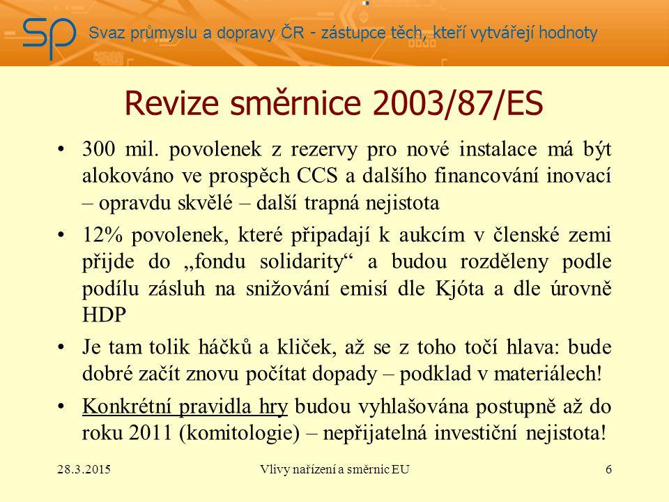 Svaz průmyslu a dopravy ČR - zástupce těch, kteří vytvářejí hodnoty Revize směrnice 2003/87/ES Výnosy aukce budou příjmem národních vlád Snaha po předurčení výnosů z emisí – převážně na zahraniční pomoc: 50%, naráží na základní smlouvy EU, proto EP přijal jen doporučení: nikoliv shall… ale should.