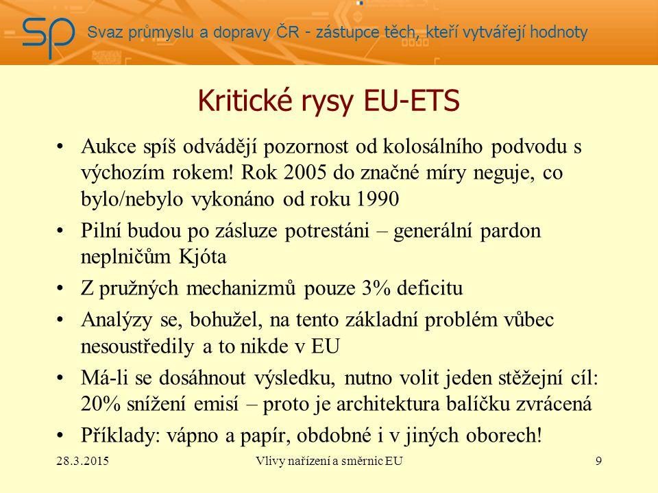 Svaz průmyslu a dopravy ČR - zástupce těch, kteří vytvářejí hodnoty Kritické rysy EU-ETS Aukce spíš odvádějí pozornost od kolosálního podvodu s výchozím rokem.
