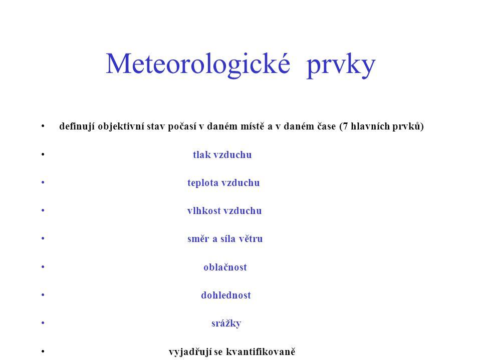 Srážky Srážky kapalné: déšť slabý-.5mm/hod- kapičky o prům.