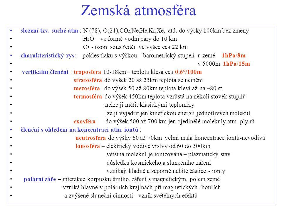 ozonosféra O3 – ozon vzniká v atmosféře v důsledku elektrostatických výbojů a koncentruje se ve výškách cca 10 až 50 km – zadržuje škodlivé sluneční UV záření její poškozování – oxidy dusíku - freony –halogenové uhlovodíky kjotský protokol 1998 Bali 2007 atmosférické ionty - v důsledku slunečního a kosmického záření některé molekuly vzduchu ztratí jeden elektron, který se posléze zachytí na jiné molekule: molekuly oslabené + molekuly posílené - vznikají shluky kladně a záporně nabité.