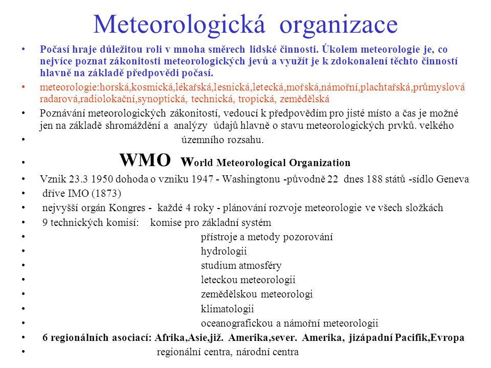 Meteorologická organizace Počasí hraje důležitou roli v mnoha směrech lidské činnosti. Úkolem meteorologie je, co nejvíce poznat zákonitosti meteorolo
