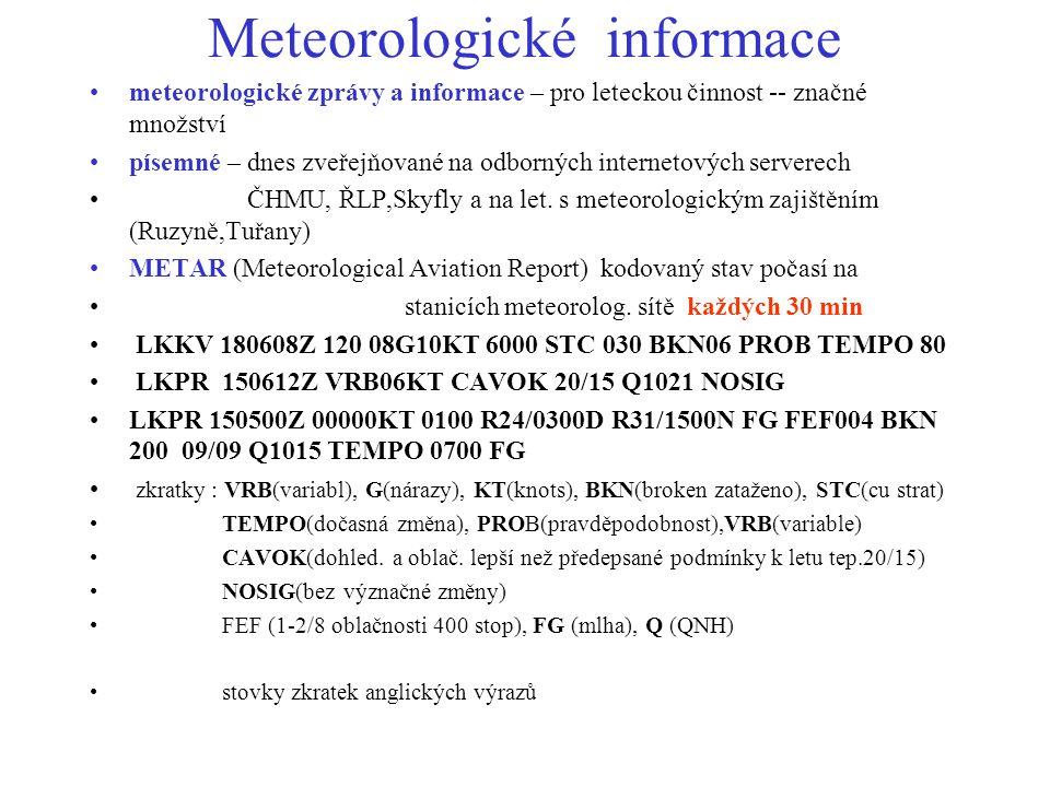 Meteorologické informace meteorologické zprávy a informace – pro leteckou činnost -- značné množství písemné – dnes zveřejňované na odborných internet
