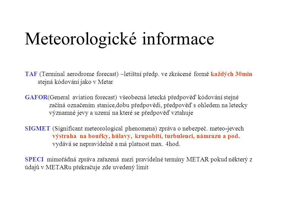 Meteorologické informace TAF (Terminal aerodrome forecast) –letištní předp. ve zkrácené formě každých 30min stejná kódování jako v Metar GAFOR(General