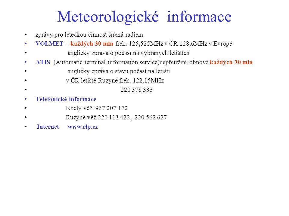 Meteorologické informace zprávy pro leteckou činnost šířená radiem VOLMET – každých 30 min frek. 125,525MHz v ČR 128,6MHz v Evropě anglicky zpráva o p