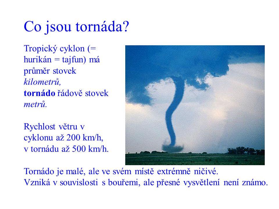 Co jsou tornáda? Tornádo je malé, ale ve svém místě extrémně ničivé. Vzniká v souvislosti s bouřemi, ale přesné vysvětlení není známo. Tropický cyklon
