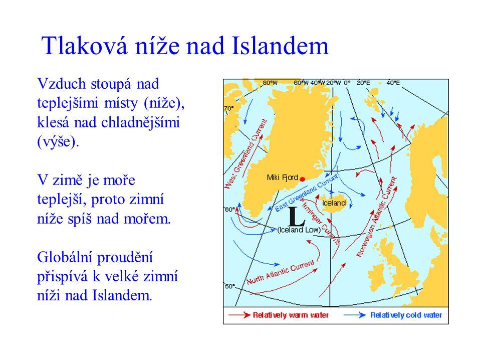 Tlaková níže nad Islandem Vzduch stoupá nad teplejšími místy (níže), klesá nad chladnějšími (výše). V zimě je moře teplejší, proto zimní níže spíš nad