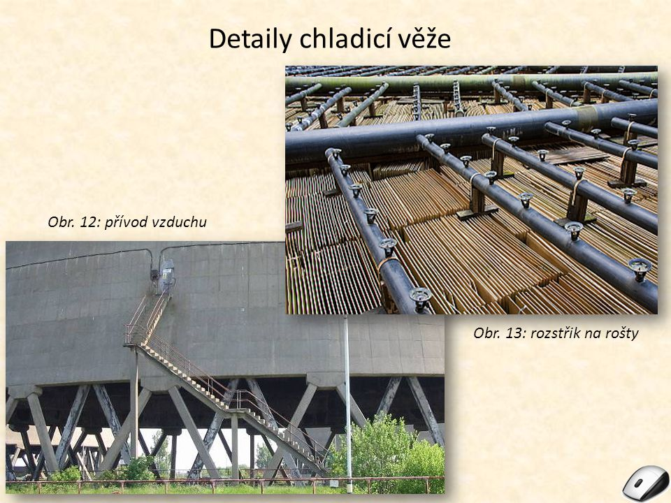 Detaily chladicí věže Obr. 12: přívod vzduchu Obr. 13: rozstřik na rošty