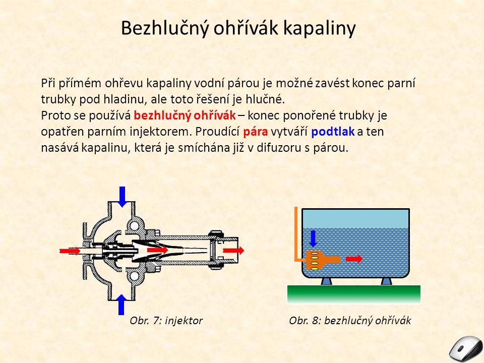 Bezhlučný ohřívák kapaliny Při přímém ohřevu kapaliny vodní párou je možné zavést konec parní trubky pod hladinu, ale toto řešení je hlučné.