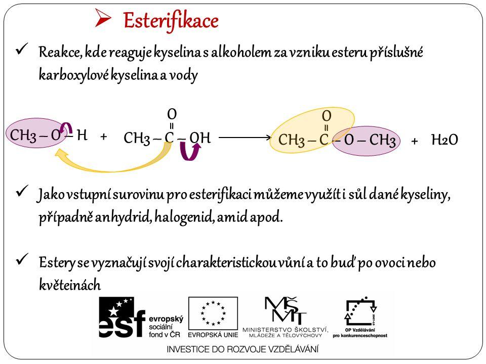  Esterifikace Reakce, kde reaguje kyselina s alkoholem za vzniku esteru příslušné karboxylové kyselina a vody CH3 – O – H + CH3 – C – OH O = CH3 – C