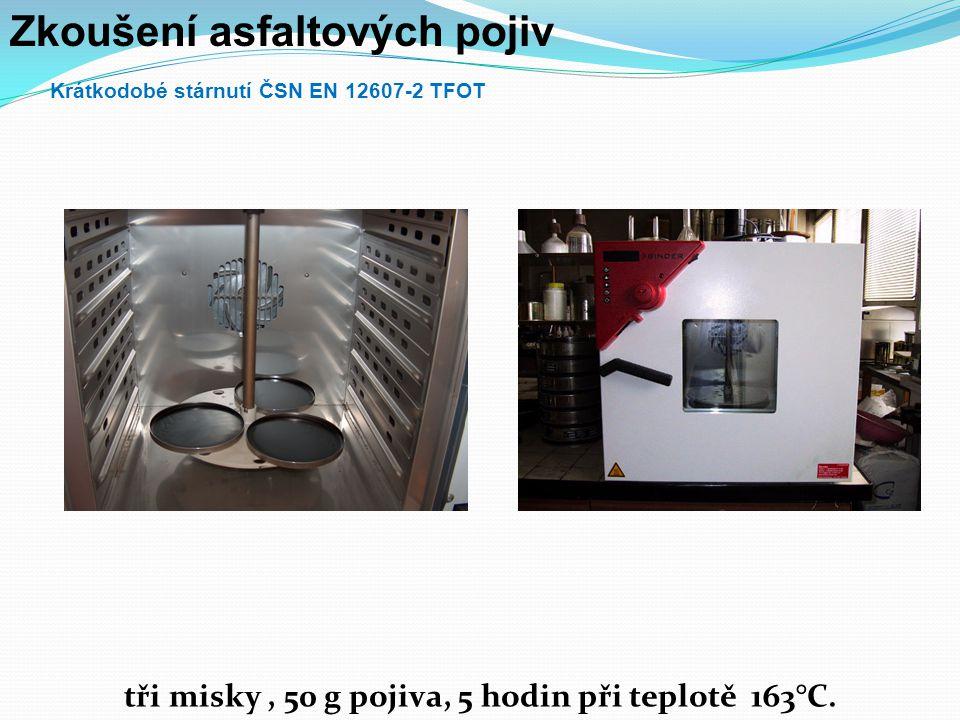 Zkoušení asfaltových pojiv Krátkodobé stárnutí ČSN EN 12607-2 TFOT tři misky, 50 g pojiva, 5 hodin při teplotě 163°C.