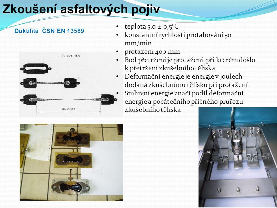 Zkoušení asfaltových pojiv stárnutí Krátkodobé - metoda RTFOT - metoda TFOT - metoda RFT - modifikovaná metoda RTFOT - simulována odolnost proti tvrdnutí pojiva v průběhu míchání, dopravy a pokládce - asfaltové směsi Dlouhodobé - tlaková nádoba PAV - vysokotlaká metoda stárnutí (HiPat) - metoda stárnutí v rotačním válci (RCAT) - metoda dlouhodobého stárnutí v rotační baňce (LTRFT) - trojnásobná metoda RTFOT - cca 7 až 10 let na vozovce