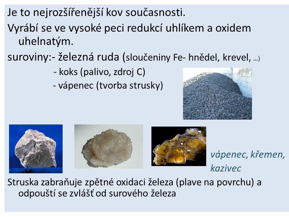 Je to nejrozšířenější kov současnosti.Vyrábí se ve vysoké peci redukcí uhlíkem a oxidem uhelnatým.