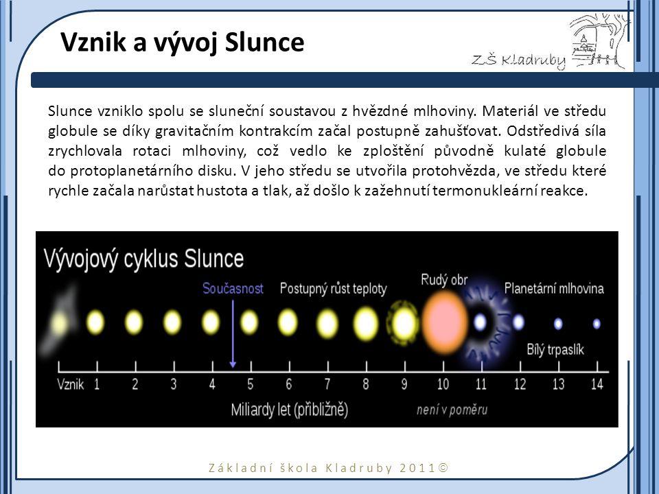 Základní škola Kladruby 2011  Vznik a vývoj Slunce Slunce vzniklo spolu se sluneční soustavou z hvězdné mlhoviny.