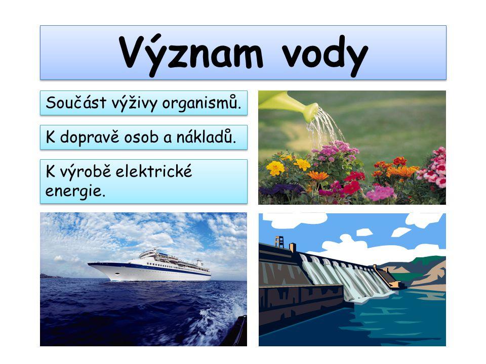 Význam vody Součást výživy organismů. K dopravě osob a nákladů. K výrobě elektrické energie.