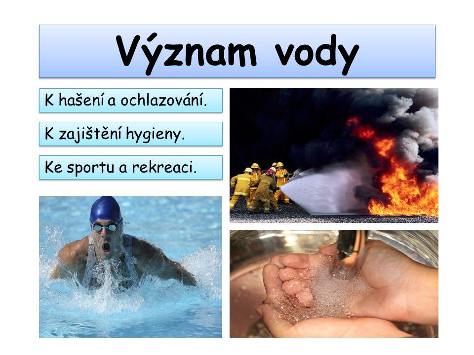 Význam vody K zajištění hygieny. Ke sportu a rekreaci. K hašení a ochlazování.