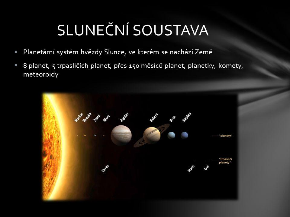  Planetární systém hvězdy Slunce, ve kterém se nachází Země  8 planet, 5 trpasličích planet, přes 150 měsíců planet, planetky, komety, meteoroidy SL