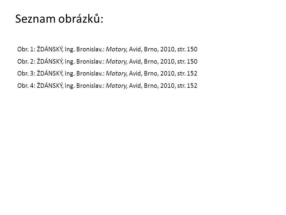 Seznam obrázků: Obr. 1: ŽDÁNSKÝ, Ing. Bronislav.: Motory, Avid, Brno, 2010, str. 150 Obr. 2: ŽDÁNSKÝ, Ing. Bronislav.: Motory, Avid, Brno, 2010, str.