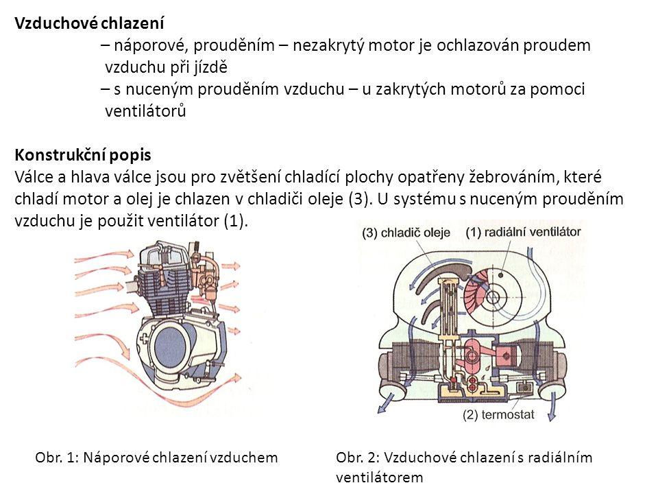 Vzduchové chlazení – náporové, prouděním – nezakrytý motor je ochlazován proudem vzduchu při jízdě – s nuceným prouděním vzduchu – u zakrytých motorů
