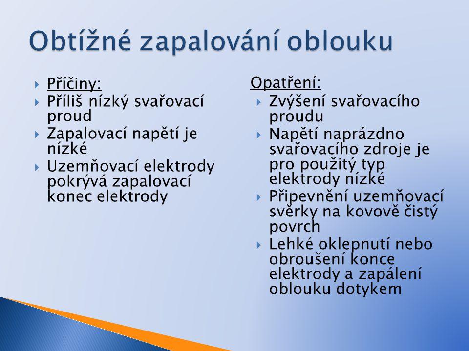  Příčiny:  Příliš nízký svařovací proud  Zapalovací napětí je nízké  Uzemňovací elektrody pokrývá zapalovací konec elektrody Opatření:  Zvýšení s