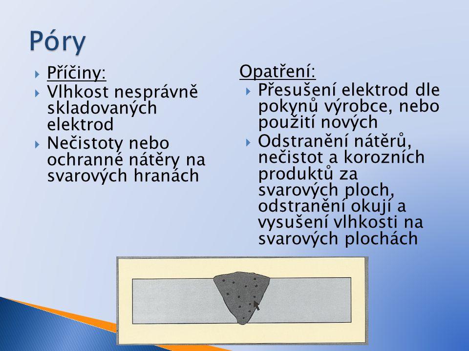  Příčiny:  Vlhkost nesprávně skladovaných elektrod  Nečistoty nebo ochranné nátěry na svarových hranách Opatření:  Přesušení elektrod dle pokynů v
