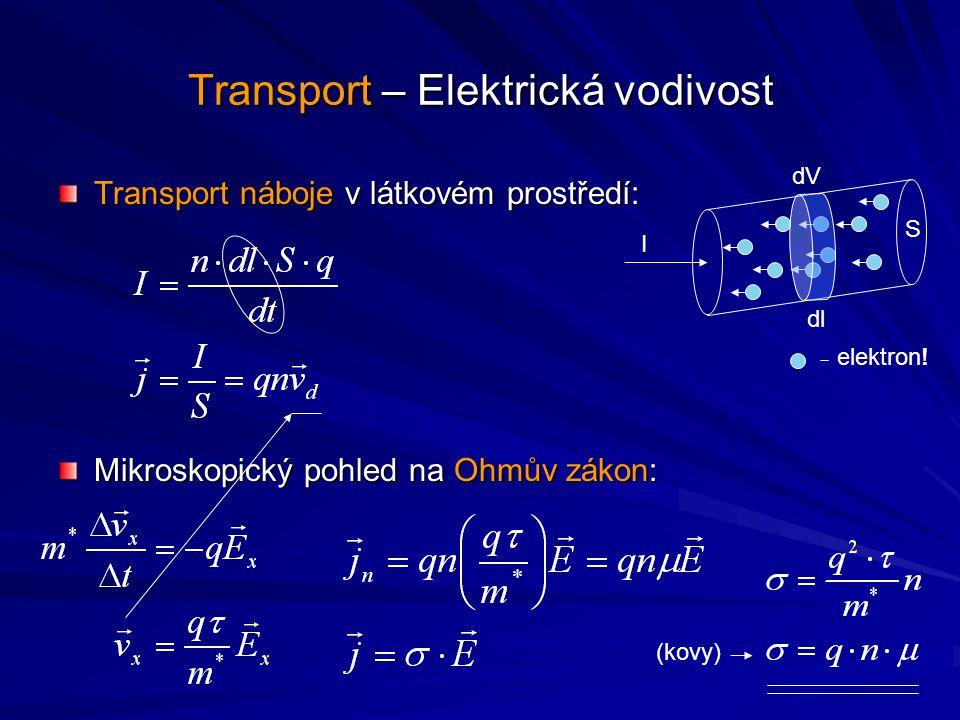 Transport – Elektrická vodivost Transport náboje v látkovém prostředí: Mikroskopický pohled na Ohmův zákon: elektron! S dV dl I (kovy)