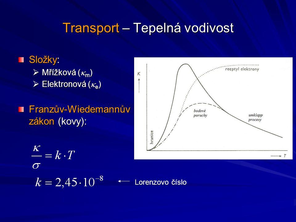 Transport – Tepelná vodivost Složky:  Mřížková (  m )  Elektronová (  e ) Franzův-Wiedemannův zákon (kovy): Lorenzovo číslo