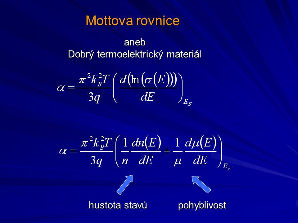 Mottova rovnice hustota stavůpohyblivost aneb Dobrý termoelektrický materiál