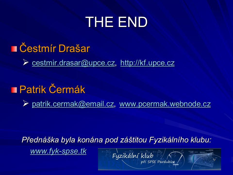 THE END Čestmír Drašar  cestmir.drasar@upce.cz, http://kf.upce.cz cestmir.drasar@upce.czhttp://kf.upce.cz cestmir.drasar@upce.czhttp://kf.upce.cz Pat