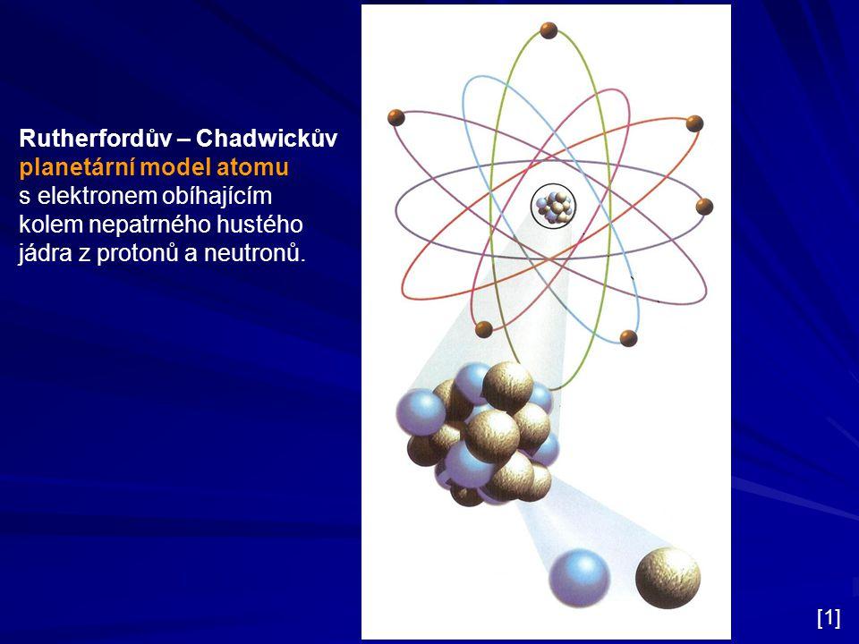 Rutherfordův – Chadwickův planetární model atomu s elektronem obíhajícím kolem nepatrného hustého jádra z protonů a neutronů. [1]