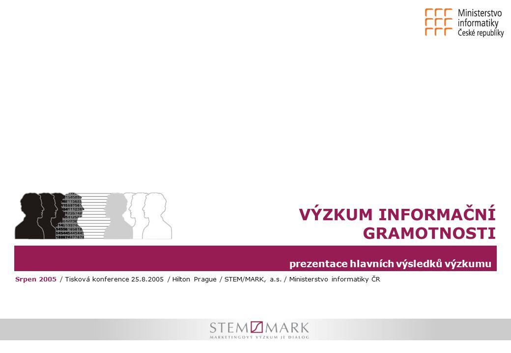 prezentace hlavních výsledků výzkumu VÝZKUM INFORMAČNÍ GRAMOTNOSTI Srpen 2005 / Tisková konference 25.8.2005 / Hilton Prague / STEM/MARK, a.s.