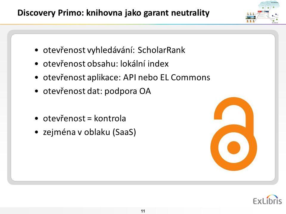 11 otevřenost vyhledávání: ScholarRank otevřenost obsahu: lokální index otevřenost aplikace: API nebo EL Commons otevřenost dat: podpora OA otevřenost = kontrola zejména v oblaku (SaaS) Discovery Primo: knihovna jako garant neutrality