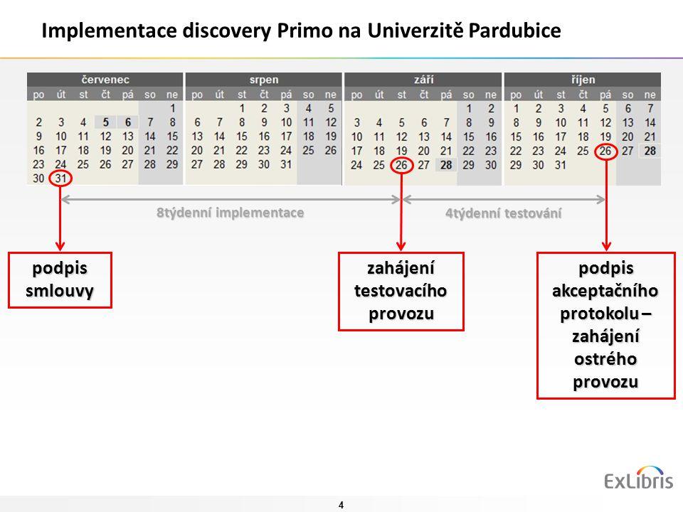 4 Implementace discovery Primo na Univerzitě Pardubice podpis smlouvy zahájení testovacího provozu podpis akceptačního protokolu – zahájení ostrého provozu 8týdenní implementace 4týdenní testování