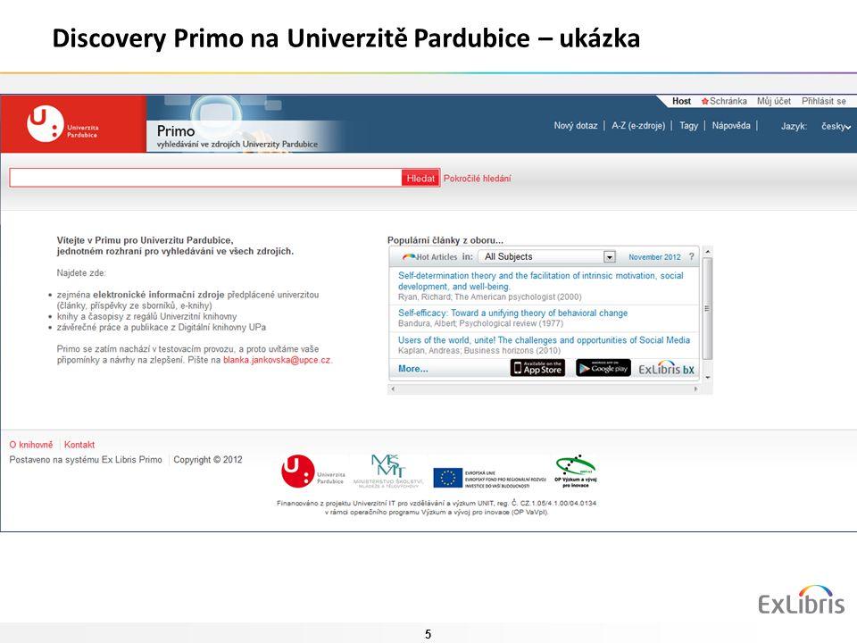 5 Discovery Primo na Univerzitě Pardubice – ukázka