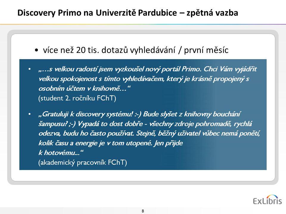 8 Discovery Primo na Univerzitě Pardubice – zpětná vazba více než 20 tis. dotazů vyhledávání / první měsíc analýza aktivit uživatelů četnost zadávanýc