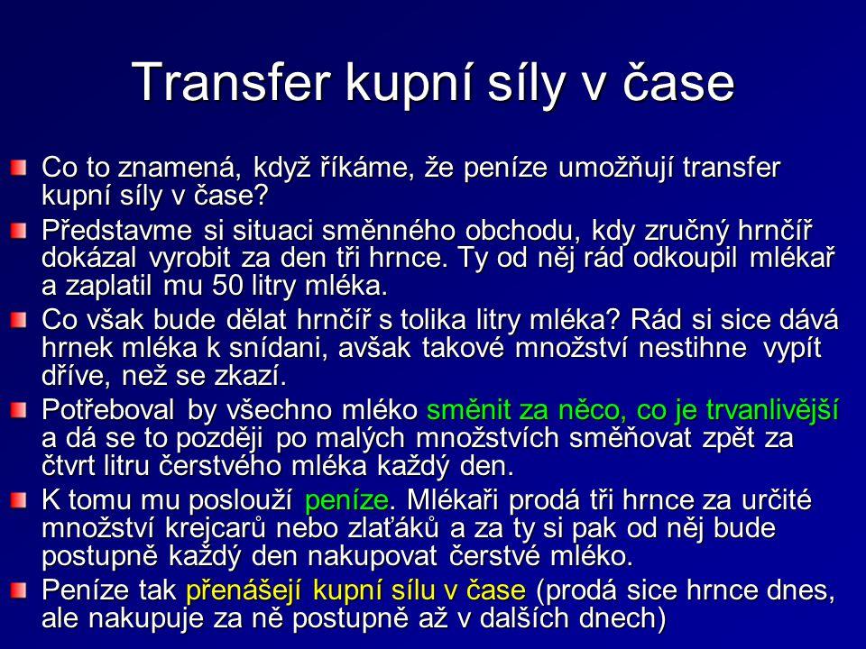 Transfer kupní síly v čase Co to znamená, když říkáme, že peníze umožňují transfer kupní síly v čase? Představme si situaci směnného obchodu, kdy zruč