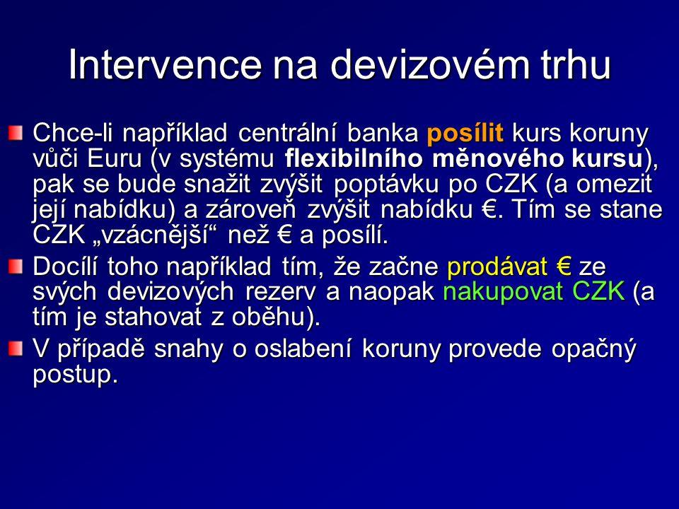 Intervence na devizovém trhu Chce-li například centrální banka posílit kurs koruny vůči Euru (v systému flexibilního měnového kursu), pak se bude snaž