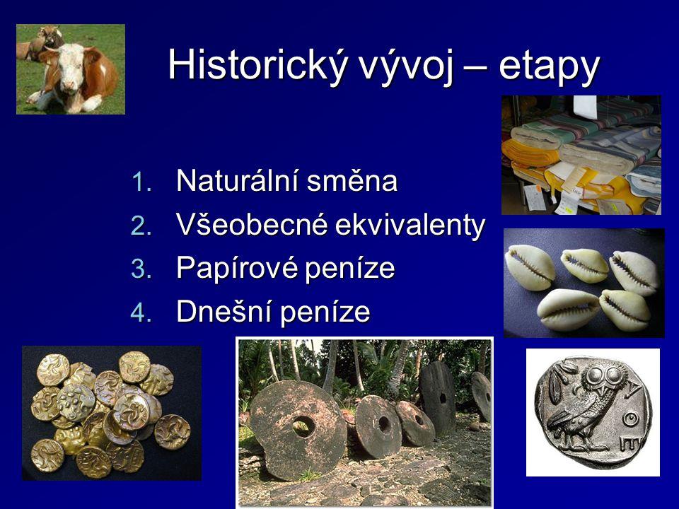 Historický vývoj – etapy 1. Naturální směna 2. Všeobecné ekvivalenty 3. Papírové peníze 4. Dnešní peníze