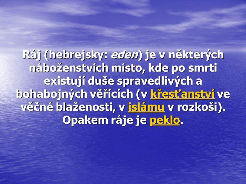 Ráj (hebrejsky: eden) je v některých náboženstvích místo, kde po smrti existují duše spravedlivých a bohabojných věřících (v křesťanství ve věčné blaž