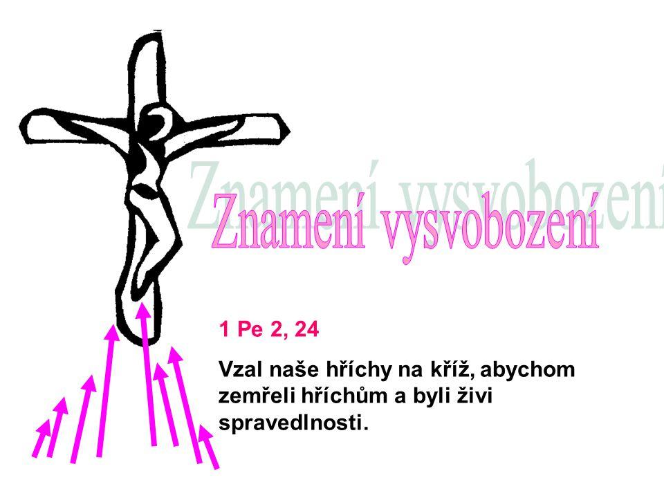 1 Pe 2, 24 Vzal naše hříchy na kříž, abychom zemřeli hříchům a byli živi spravedlnosti.