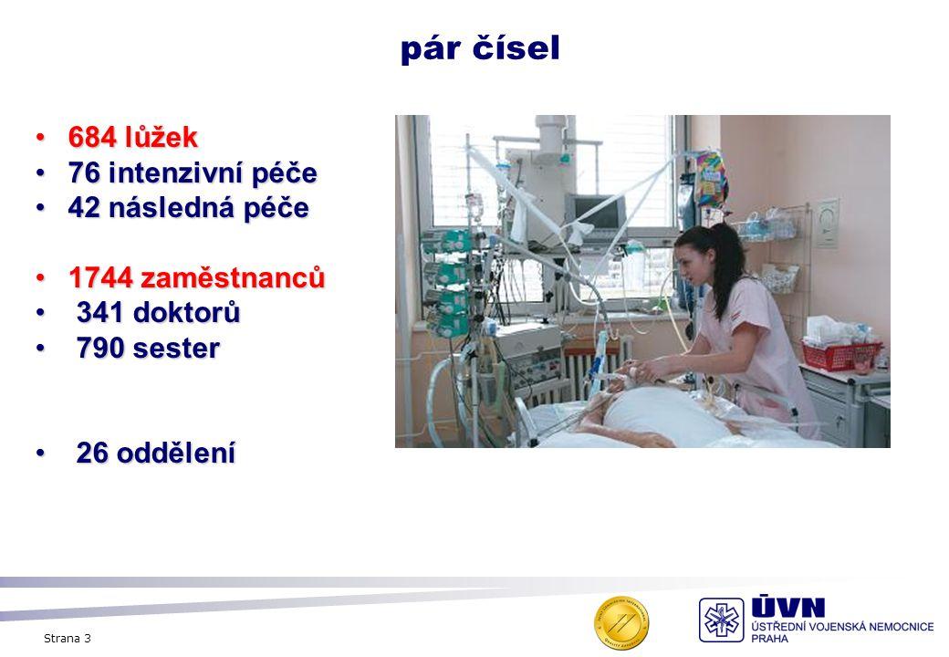 Strana 3 pár čísel 684 lůžek684 lůžek 76 intenzivní péče76 intenzivní péče 42 následná péče42 následná péče 1744 zaměstnanců1744 zaměstnanců 341 dokto