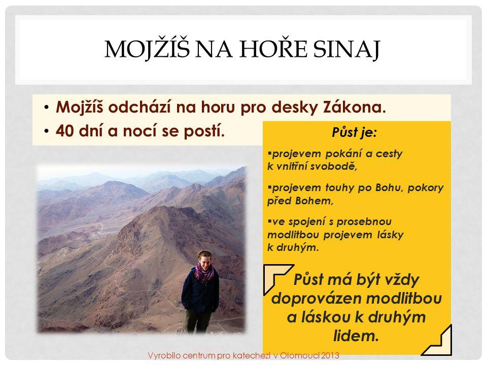 MOJŽÍŠ NA HOŘE SINAJ Mojžíš odchází na horu pro desky Zákona.