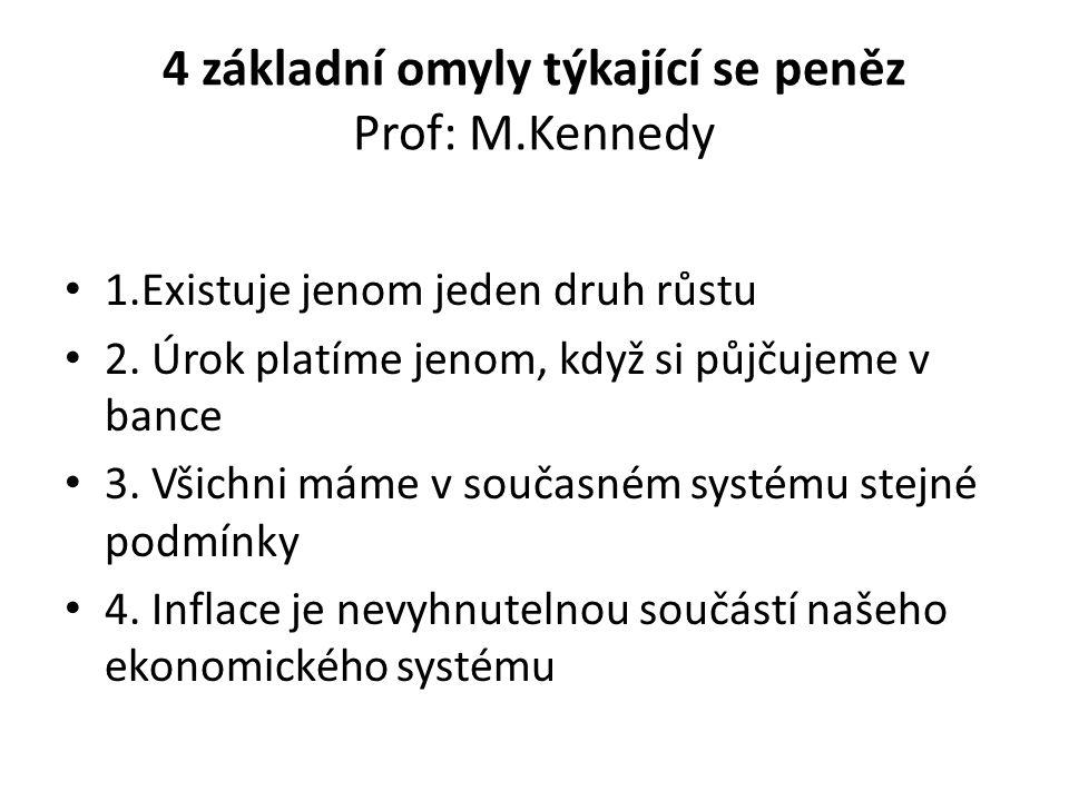 4 základní omyly týkající se peněz Prof: M.Kennedy 1.Existuje jenom jeden druh růstu 2.