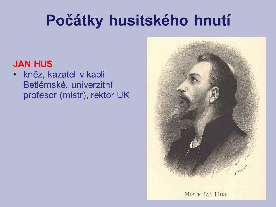 Počátky husitského hnutí JAN HUS kněz, kazatel v kapli Betlémské, univerzitní profesor (mistr), rektor UK