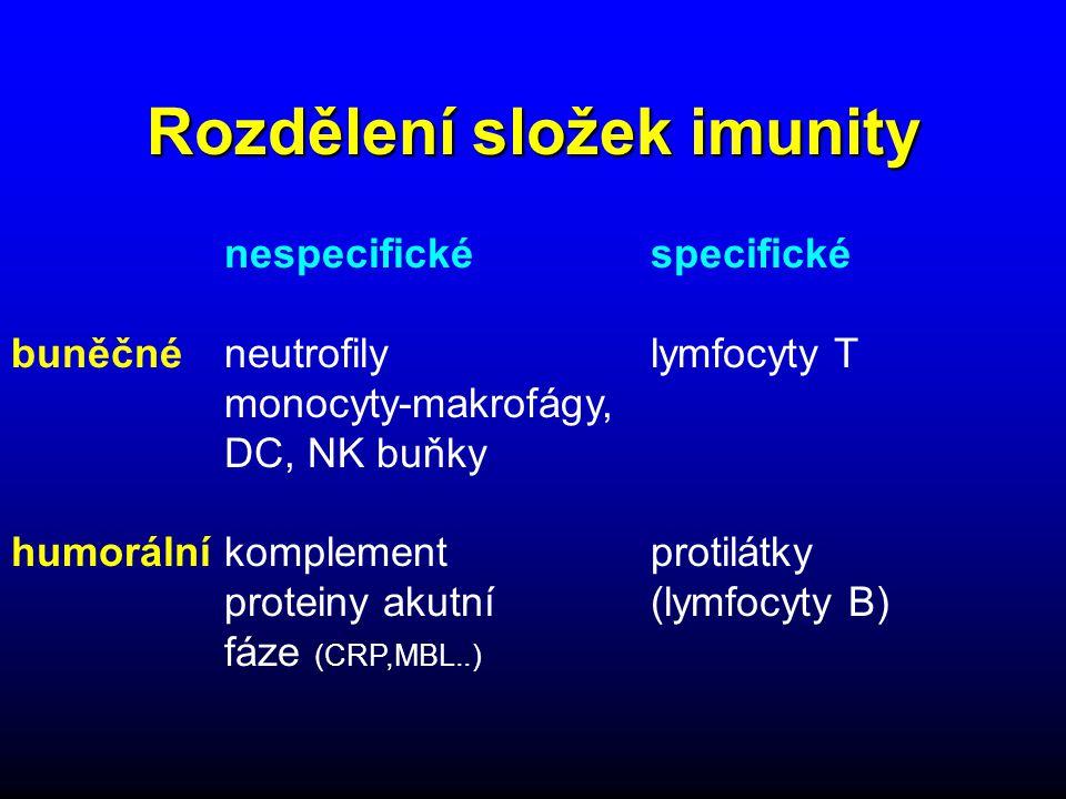 Rozdělení složek imunity nespecifické specifické buněčné neutrofily lymfocyty T monocyty-makrofágy, DC, NK buňky humorálníkomplement protilátky proteiny akutní (lymfocyty B) fáze (CRP,MBL..)