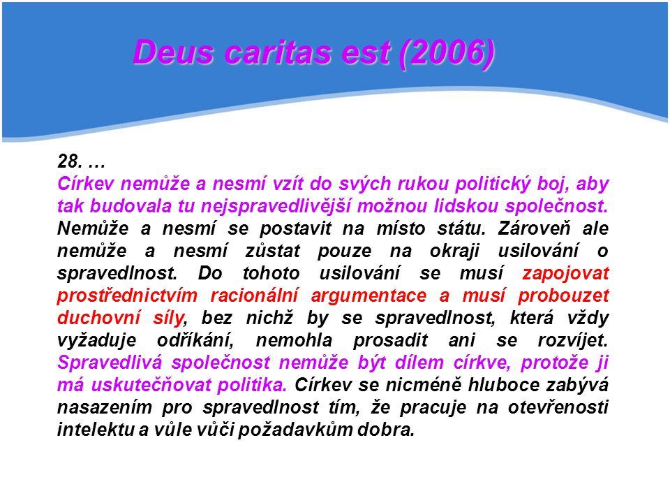 28. … Církev nemůže a nesmí vzít do svých rukou politický boj, aby tak budovala tu nejspravedlivější možnou lidskou společnost. Nemůže a nesmí se post